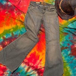 KUT from the Kloth frayed flare jeans. Size 2.